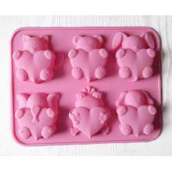 Silikónová forma na mydlo zvieratka so srdiečkom