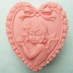 Silikónová forma na mydlo anjelik v srdiečku
