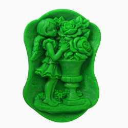 Silikónová forma na mydlo dievča s kvetinami