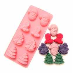 Silikónová forma na mydlo vianočný mix - 8 ks