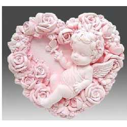 Silikónová forma na mydlo anjelik s ružami II.
