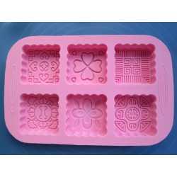 Silikónová forma na mydlo ornamenty štvorce I.