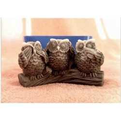 Silikónová forma na mydlo a sviečku tri sovy