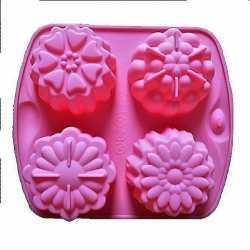 Silikónová forma na mydlo kvety mix - 4 ks