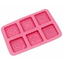 Silikónová forma na mydlo ornamenty štvorce III. - 6 ks