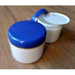 Kozmetická dóza - modré viečko s prúžkom 50ml