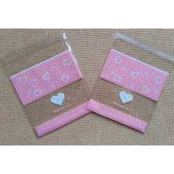 Celofánové vrecká ružové srdiečka - sada 5ks