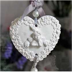 Silikónová forma na závesnú dekoráciu srdce s anjelom