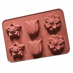 Silikónová forma na mydlo kvety mix III. - 6ks