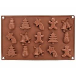 Silikónová forma na mydlo vianočný mix VIII. - 15ks